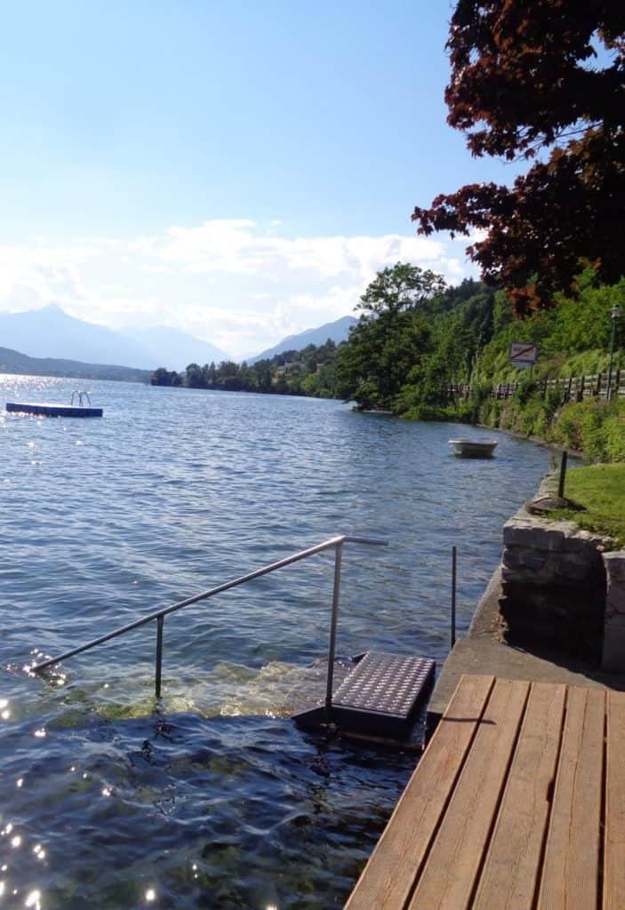 Badestrand mit eigenem Seezugang der Pension Sedlak - direkt am Millstätter See in Kärnten