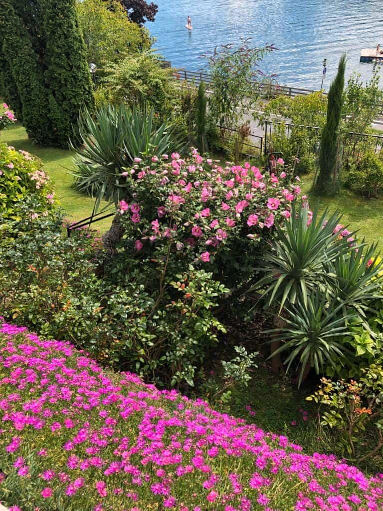 Der Garten rund um die Frühstücks-Pension Sedlak im Sommer