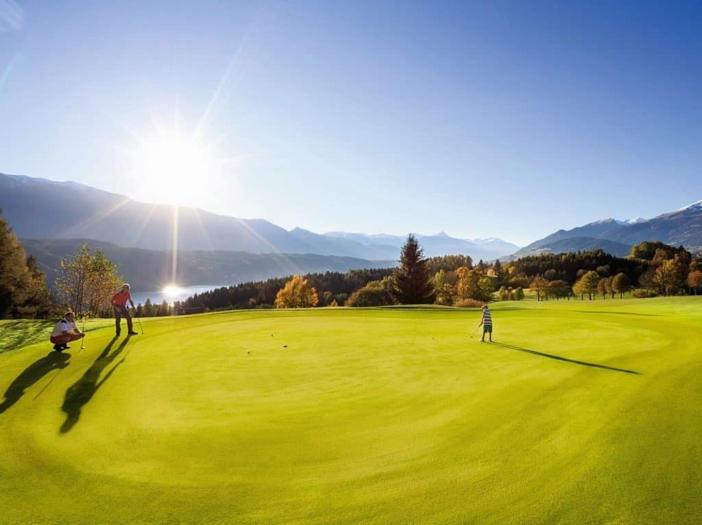 The golf course in Millstatt at the lake in Austria