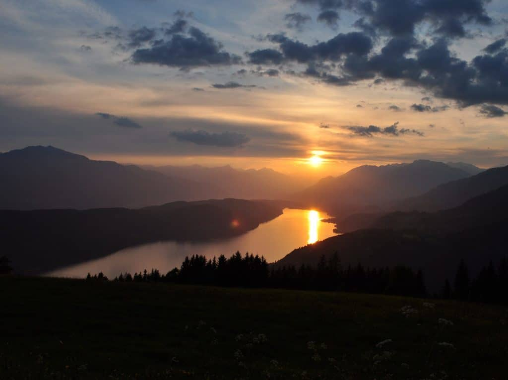 Sunset over the Millstätter See in Austria