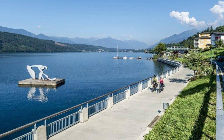 biking in Millstatt at the lake