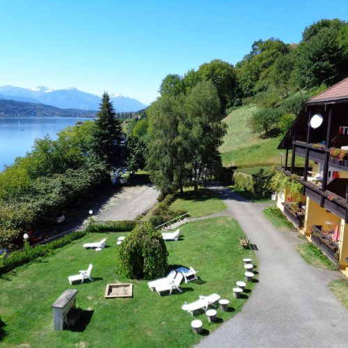 view to the lake and the apartment house